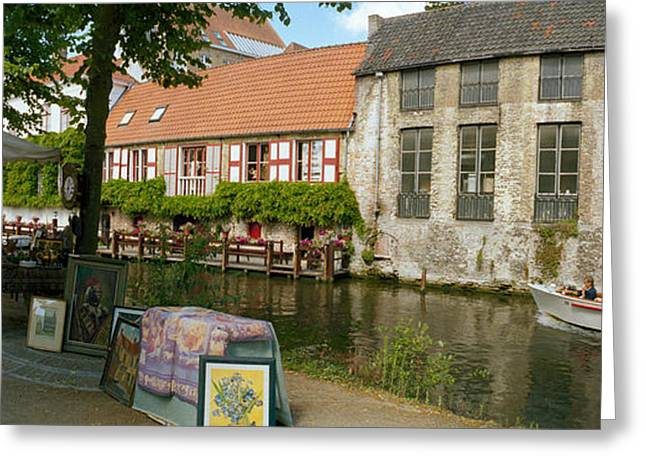Flea Greeting Cards - Flea Market At A Canal, Dijver Canal Greeting Card by Panoramic Images