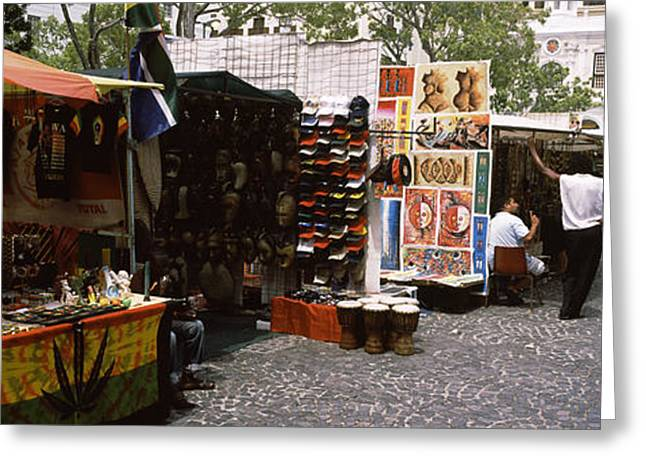 Retail Art Greeting Cards - Flea Market At A Roadside, Greenmarket Greeting Card by Panoramic Images
