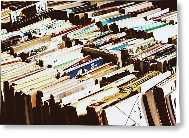 Hardcover Greeting Cards - Flea Market Series - Books Greeting Card by Marco Oliveira