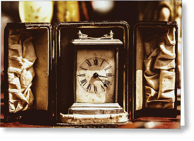 Rotation Greeting Cards - Flea Market Series - Clock Greeting Card by Marco Oliveira