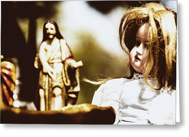 Eery Greeting Cards - Flea Market Series - Doll and Jesus Greeting Card by Marco Oliveira