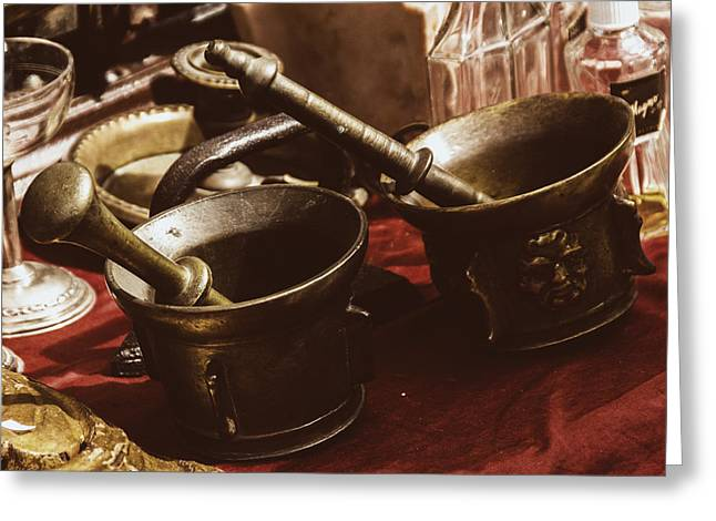 Fine Bottle Greeting Cards - Flea Market Series - Mortar and Pestle Greeting Card by Marco Oliveira