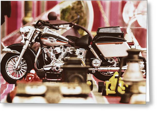 Gas Lamp Photographs Greeting Cards - Flea Market Series - Motorcycle Greeting Card by Marco Oliveira