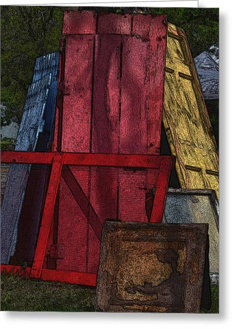 Screen Doors Digital Art Greeting Cards - Fleamarket Doors Greeting Card by Nadalyn Larsen