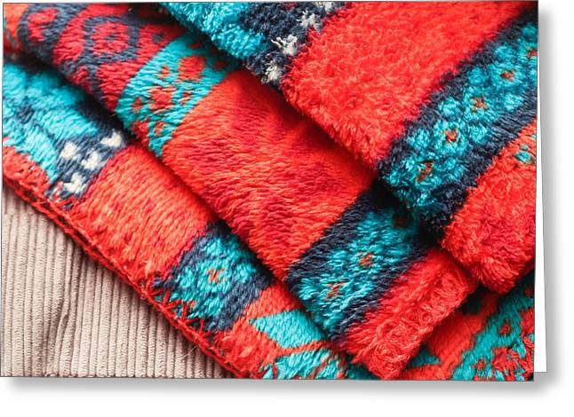 Homely Greeting Cards - Fleece blanket Greeting Card by Tom Gowanlock