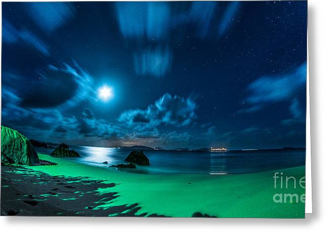 Sea Moon Full Moon Greeting Cards - Fleeing Clouds Greeting Card by Jogi Wolf