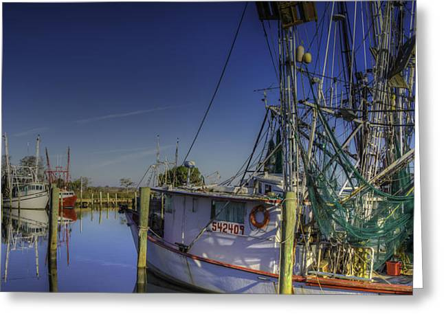 Apalachicola Shrimper Greeting Cards - Fleet Ready Greeting Card by Charles Stackpole
