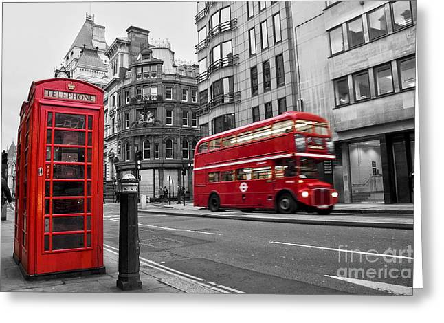 Telephone Booth Greeting Cards - Fleet street London Greeting Card by Delphimages Photo Creations