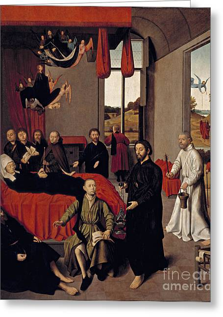 Flemish Death Of The Virgin Greeting Card by Celestial Images