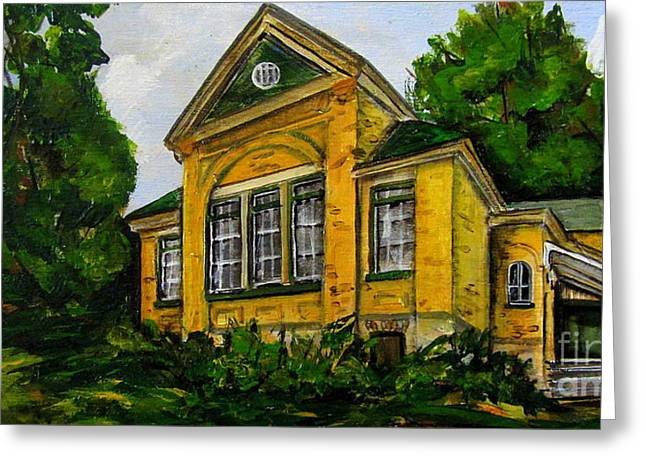 Abandoned School House. Paintings Greeting Cards - Flesherton old school Greeting Card by Jennifer Stenberg