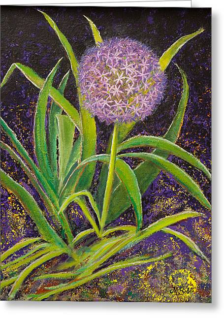 M Bobb Greeting Cards - Fleur d Allium with Iris Leaves Backup Greeting Card by Margaret Bobb