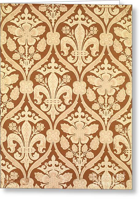 Brown Tapestries - Textiles Greeting Cards - Fleur-de-Lis Greeting Card by Augustus Welby Pugin