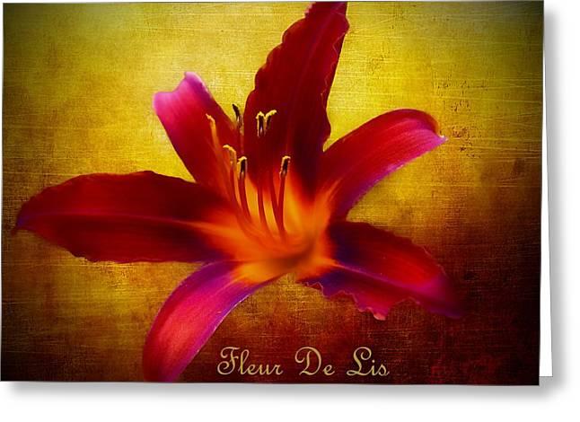 Stamen Digital Art Greeting Cards - Fleur de Lis DOr Greeting Card by Barbara Chichester