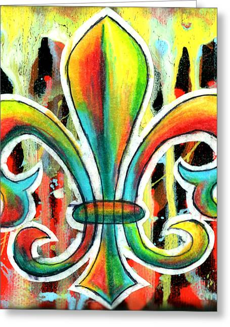 Genevieve Esson Drawings Greeting Cards - Fleur De Lis In Flames Greeting Card by Genevieve Esson