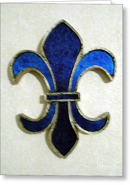 Glass Reflecting Greeting Cards - Fleur De Lis Greeting Card by Joseph Baril