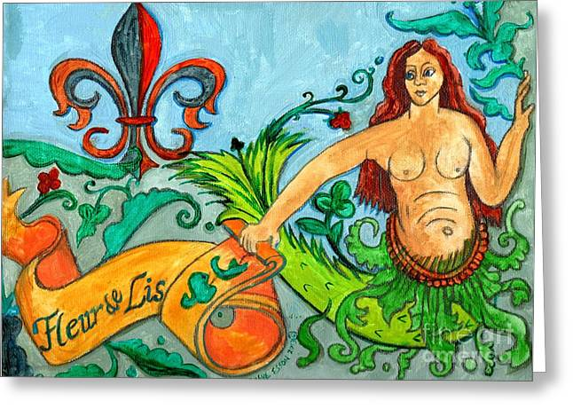 Water Flowing Paintings Greeting Cards - Fleur De Lis Mermaid Greeting Card by Genevieve Esson