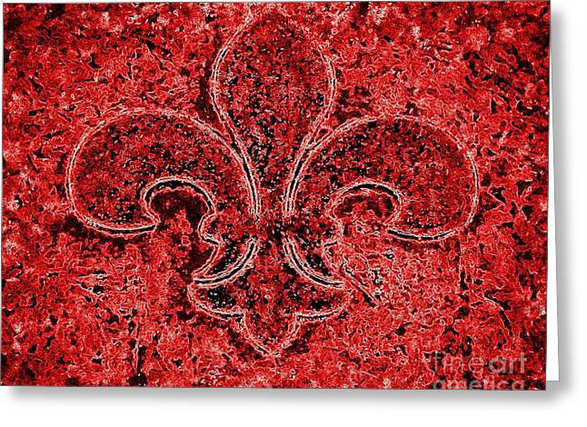 Loyalist Greeting Cards - Fleur de lis Red Ice Greeting Card by Janine Riley