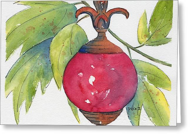 Garden Ornaments Greeting Cards - Fleur-de-lis Rouge Greeting Card by Pat Katz
