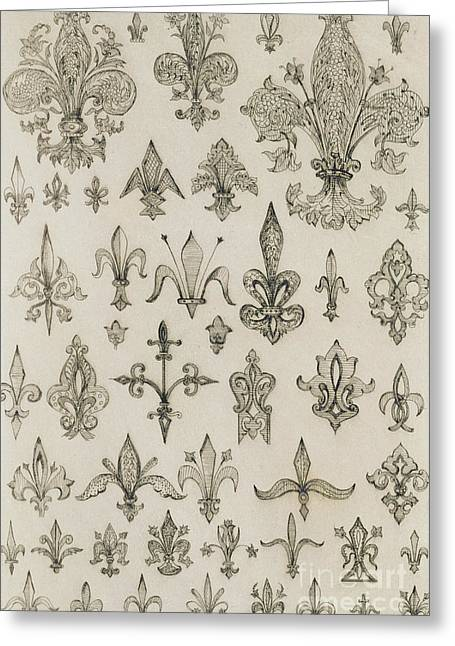 Ornament Drawings Greeting Cards - Fleur de Lys designs from every age and from all around the world Greeting Card by Jean Francois Albanis de Beaumont
