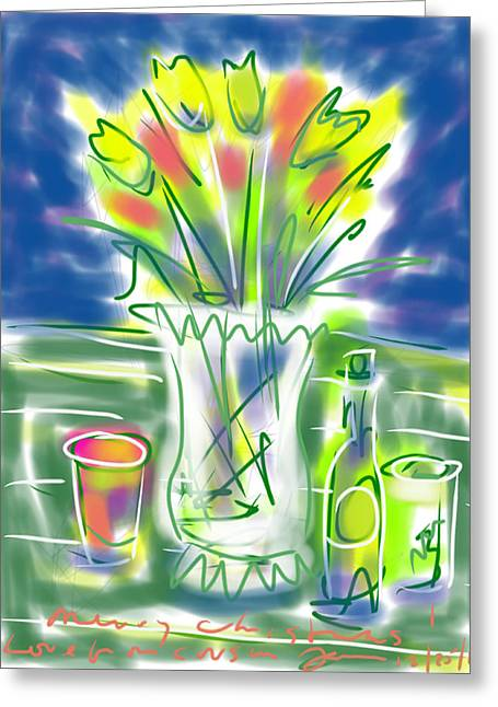 Glass Vase Drawings Greeting Cards - Fleur Noel Greeting Card by Jean Pacheco Ravinski