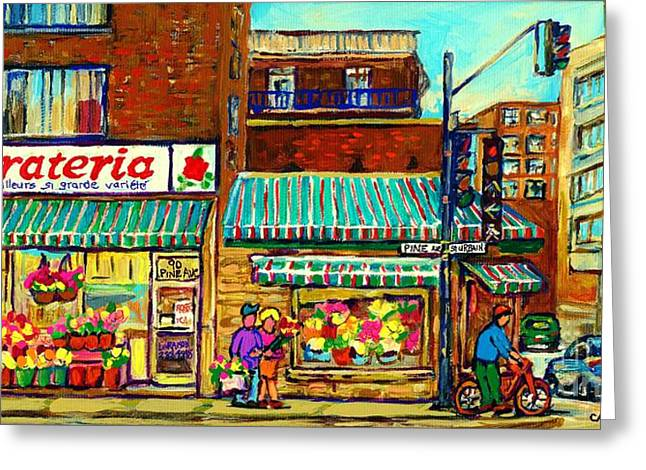 The Plateaus Paintings Greeting Cards - Fleuriste Florateria Flower Shop Paintings Montreal Art St Urbain Colorful Shops Carole Spandau Greeting Card by Carole Spandau