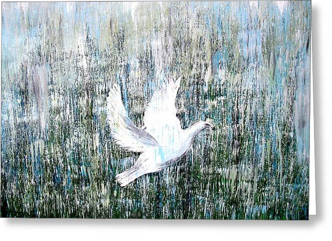 Courage Paintings Greeting Cards - Flight against odds Greeting Card by Karunita Kapoor