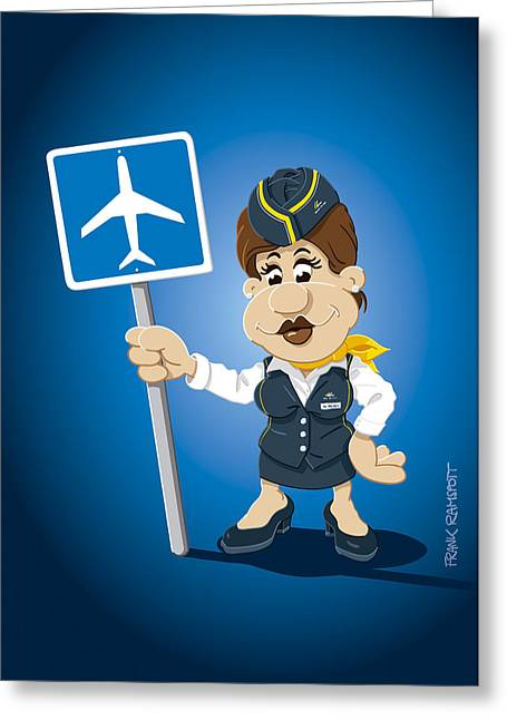 Flight Attendant Cartoon Woman Airport Sign Greeting Card by Frank Ramspott