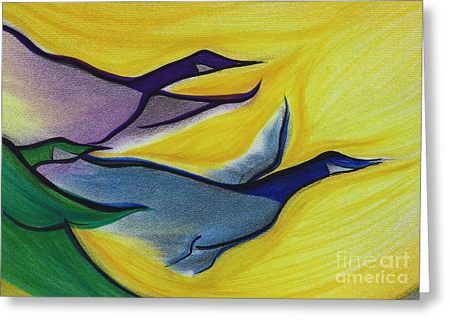 Flying Bird Pastels Greeting Cards - Flight by jrr Greeting Card by First Star Art