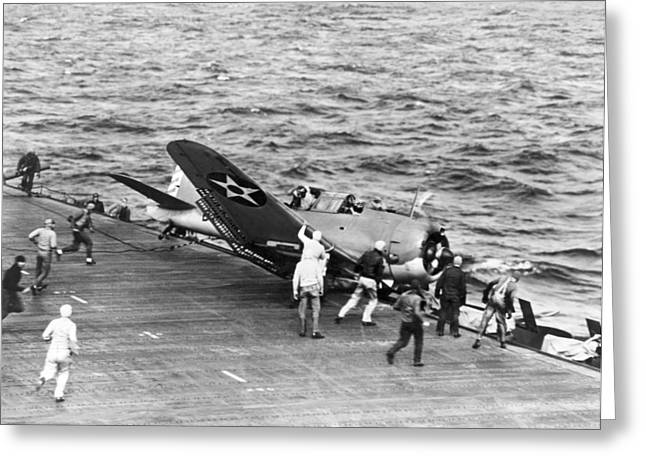 Flight Deck Crash Greeting Card by Underwood Archives
