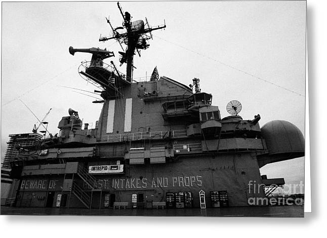 Manhaten Greeting Cards - Flight deck island and bridges of the USS Intrepid at the Intrepid Sea Air Space Museum  Greeting Card by Joe Fox