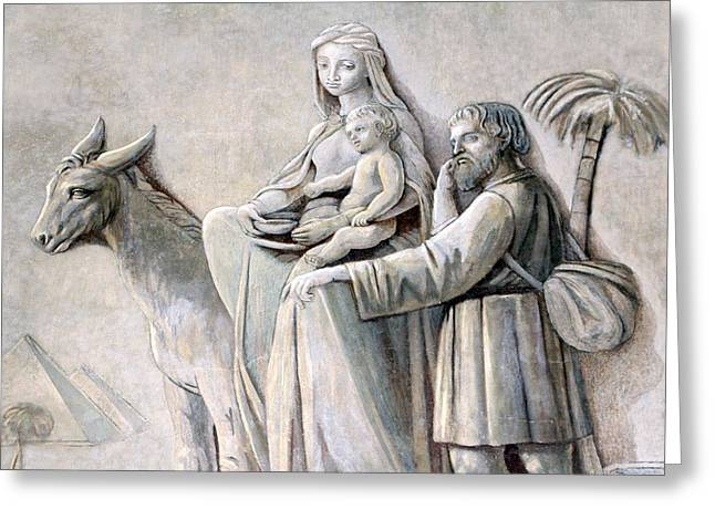 Oratory Greeting Cards - Flight into Egypt at Joseph Oratory Greeting Card by Munir Alawi