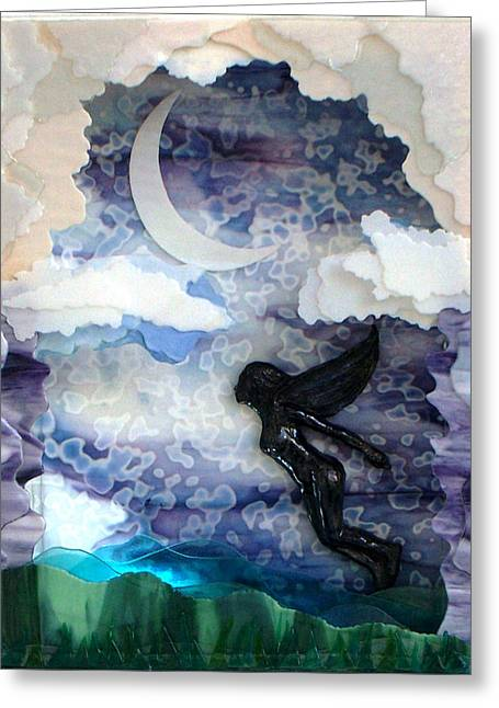 Clouds Glass Art Greeting Cards - Flight Greeting Card by Marian Berg