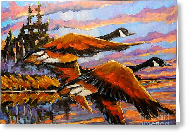 Flight Navigations Geese In  Motion Greeting Card by Richard T Pranke