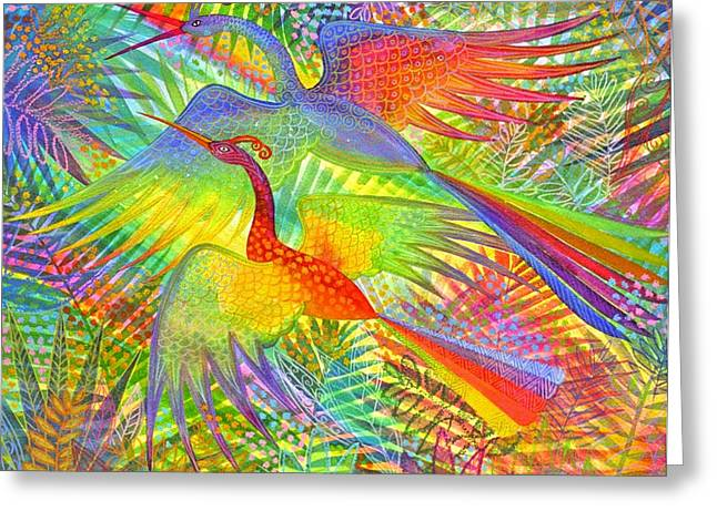 Flight Of Colour And Bliss Greeting Card by Jennifer Baird