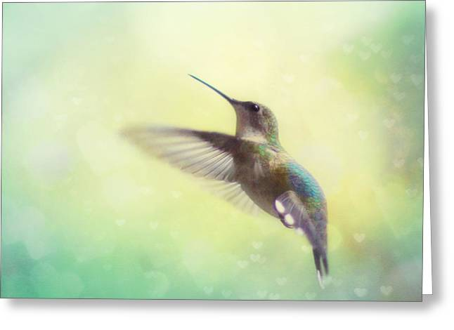 Ruby Throated Hummingbird Greeting Cards - Flight of Fancy Greeting Card by Amy Tyler