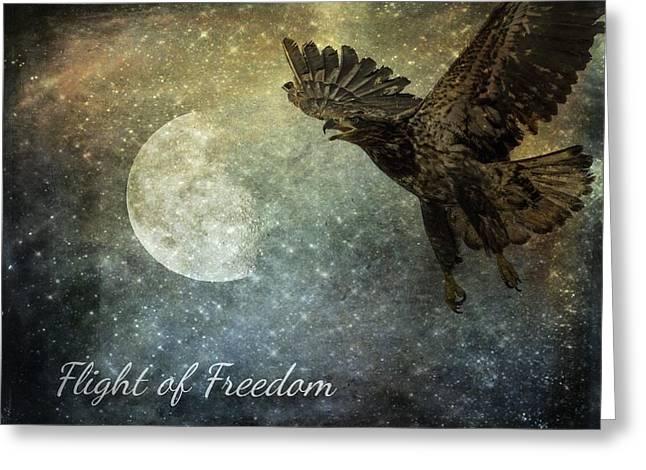 Full Of Wisdom Greeting Cards - Flight Of Freedom - Image Art Greeting Card by Jordan Blackstone