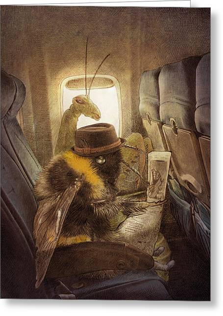 Flight Drawings Greeting Cards - Flight of the Bumblebee Greeting Card by Eric Fan