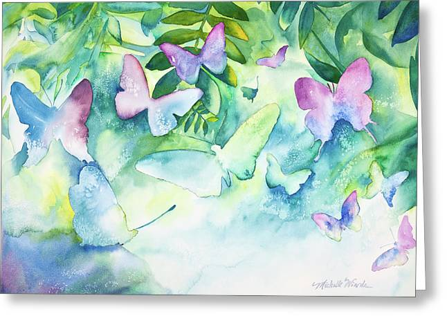 Butterflies Paintings Greeting Cards - Flight of the Butterflies Greeting Card by Michelle Wiarda