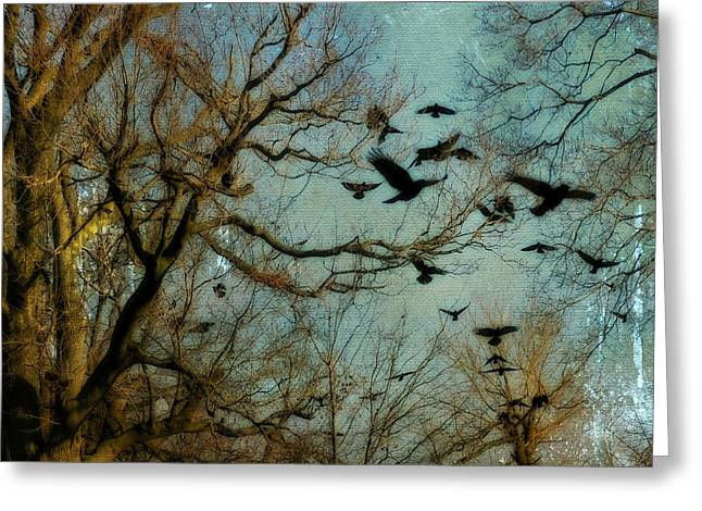 Flying Animal Greeting Cards - Flight Of The Crows Greeting Card by Gothicolors Donna Snyder