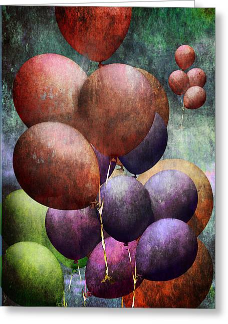 Randy Greeting Cards - Flight of the Helium Balloons Greeting Card by Randall Nyhof