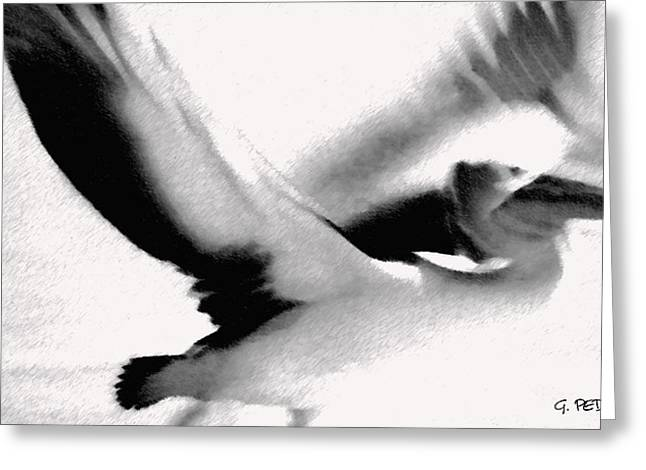 Post Impressionist Pastels Greeting Cards - Flight of the Pelican Greeting Card by George Pedro
