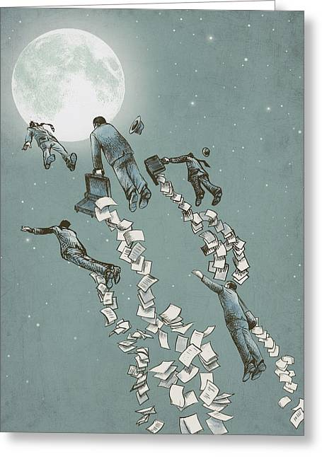 Dreams Drawings Greeting Cards - Flight of the Salary Men Greeting Card by Eric Fan