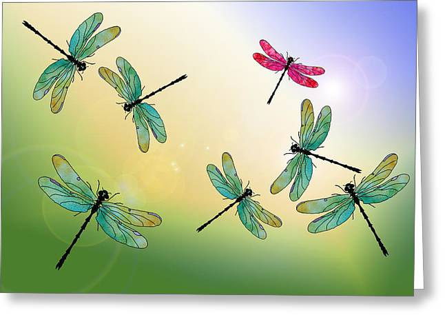 Jenny Mixed Media Greeting Cards - Flight of the Scarlet Lady Greeting Card by Jenny Armitage