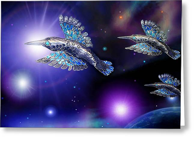 Earth Sculptures Greeting Cards - Flight of the Silver Birds Greeting Card by Hartmut Jager