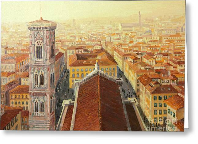 Religious Artwork Paintings Greeting Cards - Flight over Florence Greeting Card by Kiril Stanchev