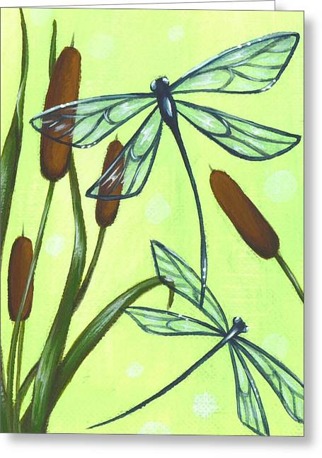 Dragonflies Greeting Cards - Flight Through The Cat Tails Greeting Card by Elaina  Wagner