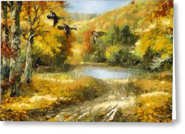 Bird Scape Greeting Cards - Flights Of Fancy Greeting Card by Georgiana Romanovna