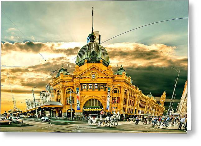 Street Scenes Photographs Greeting Cards - Flinders St Station Greeting Card by Az Jackson