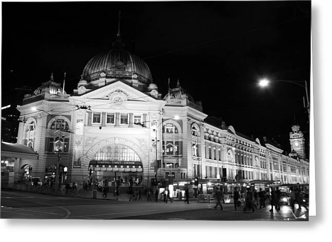 Old Street Greeting Cards - Flinders Station Melbourne Australia Greeting Card by Carl Koenig
