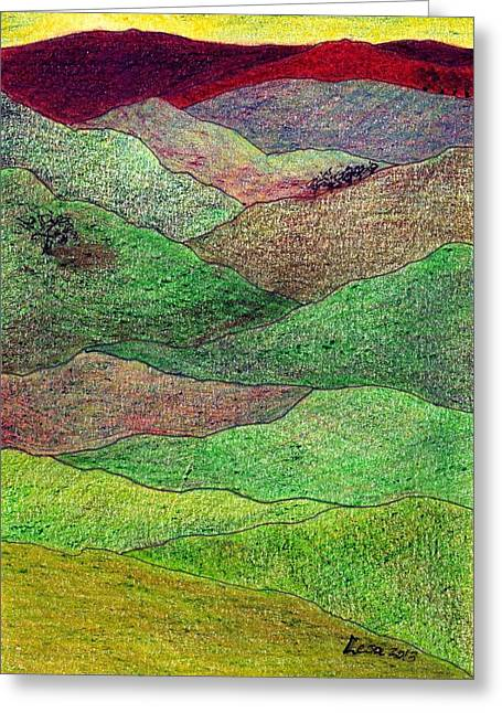 Pastoral Mixed Media Greeting Cards - Flint Hills Fall Greeting Card by Lesa Weller